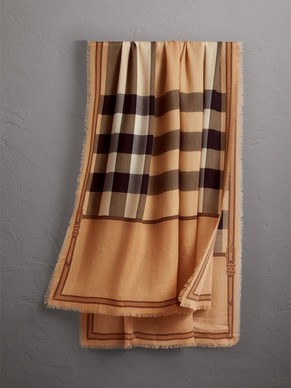 Contrast Border Horseferry Check Cashmere Scarf in Camel