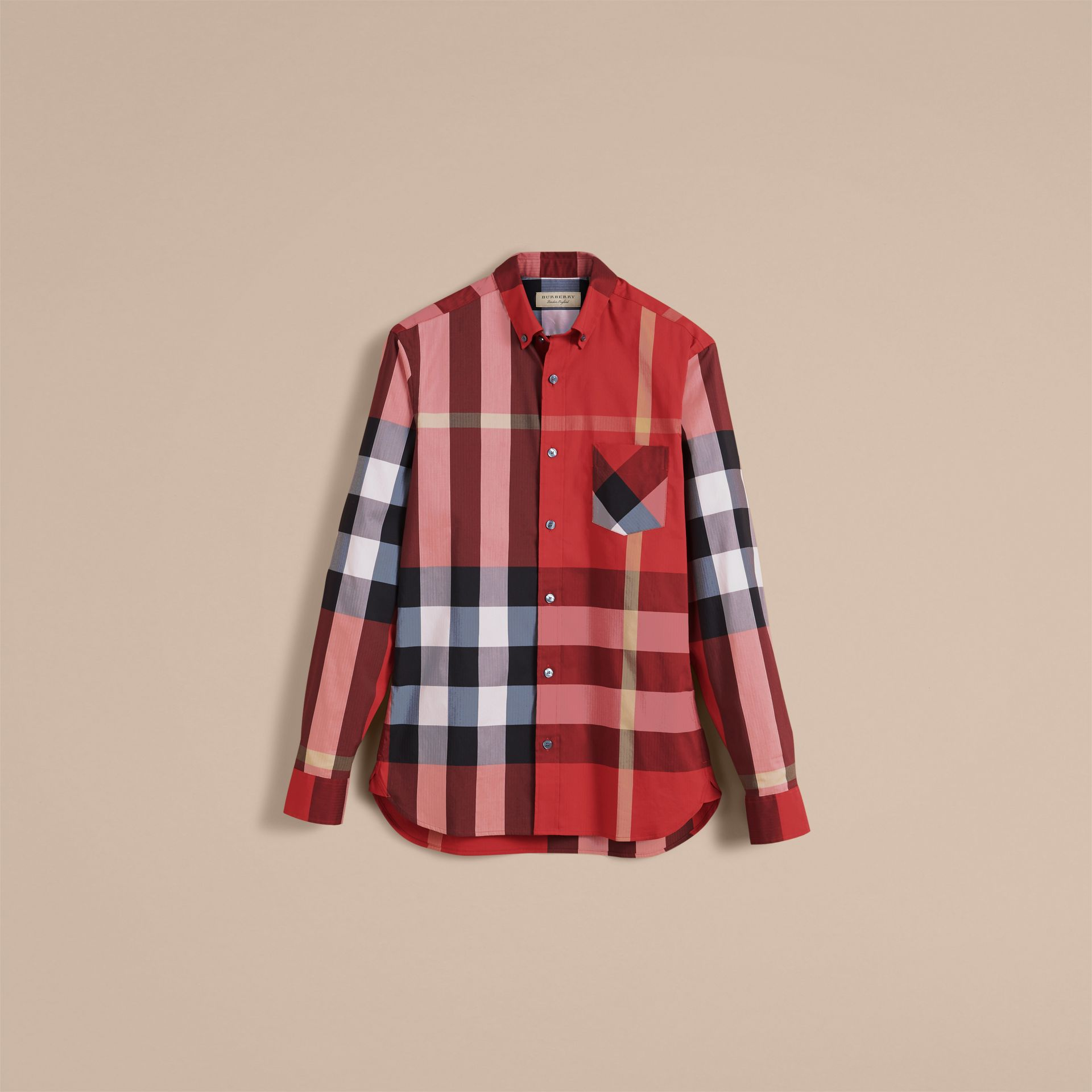 Button-down Collar Check Stretch Cotton Blend Shirt in Parade Red - Men | Burberry United Kingdom - gallery image 4