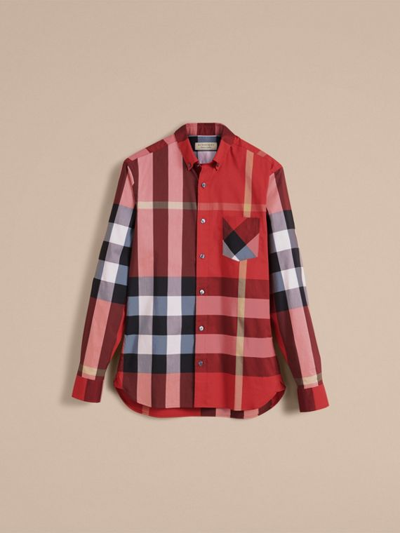 Button-down Collar Check Stretch Cotton Blend Shirt in Parade Red - Men | Burberry United Kingdom - cell image 3
