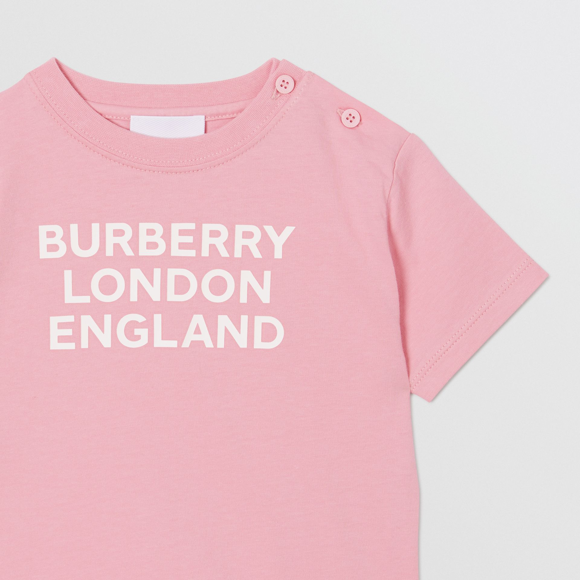 Logo Print Cotton T-shirt in Candy Pink - Children | Burberry - gallery image 4
