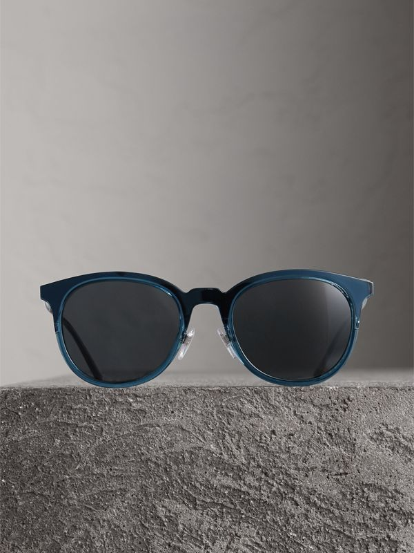 Round Frame Sunglasses in Blue - Men | Burberry - cell image 3
