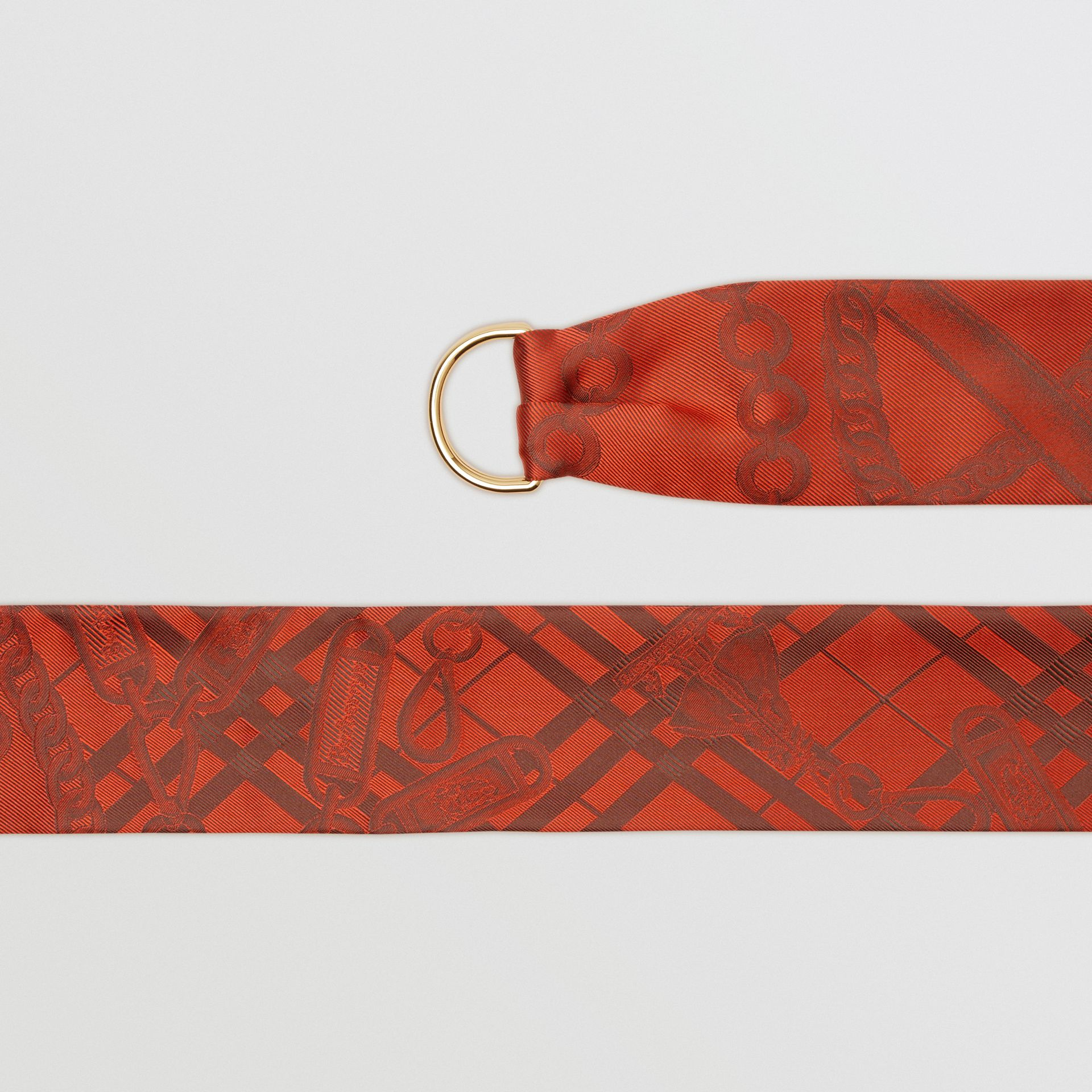 D-ring Detail Chain Silk Jacquard Skinny Scarf in Bright Red | Burberry - gallery image 1
