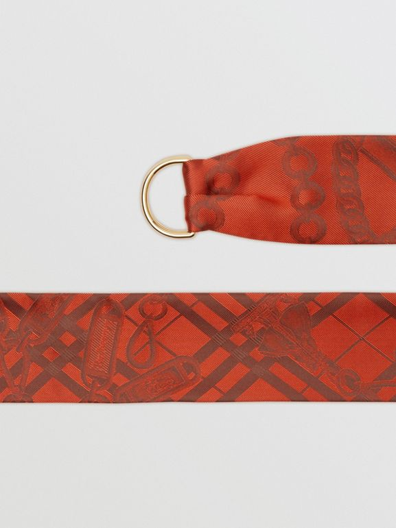 D-ring Detail Chain Silk Jacquard Skinny Scarf in Bright Red - Women | Burberry - cell image 1