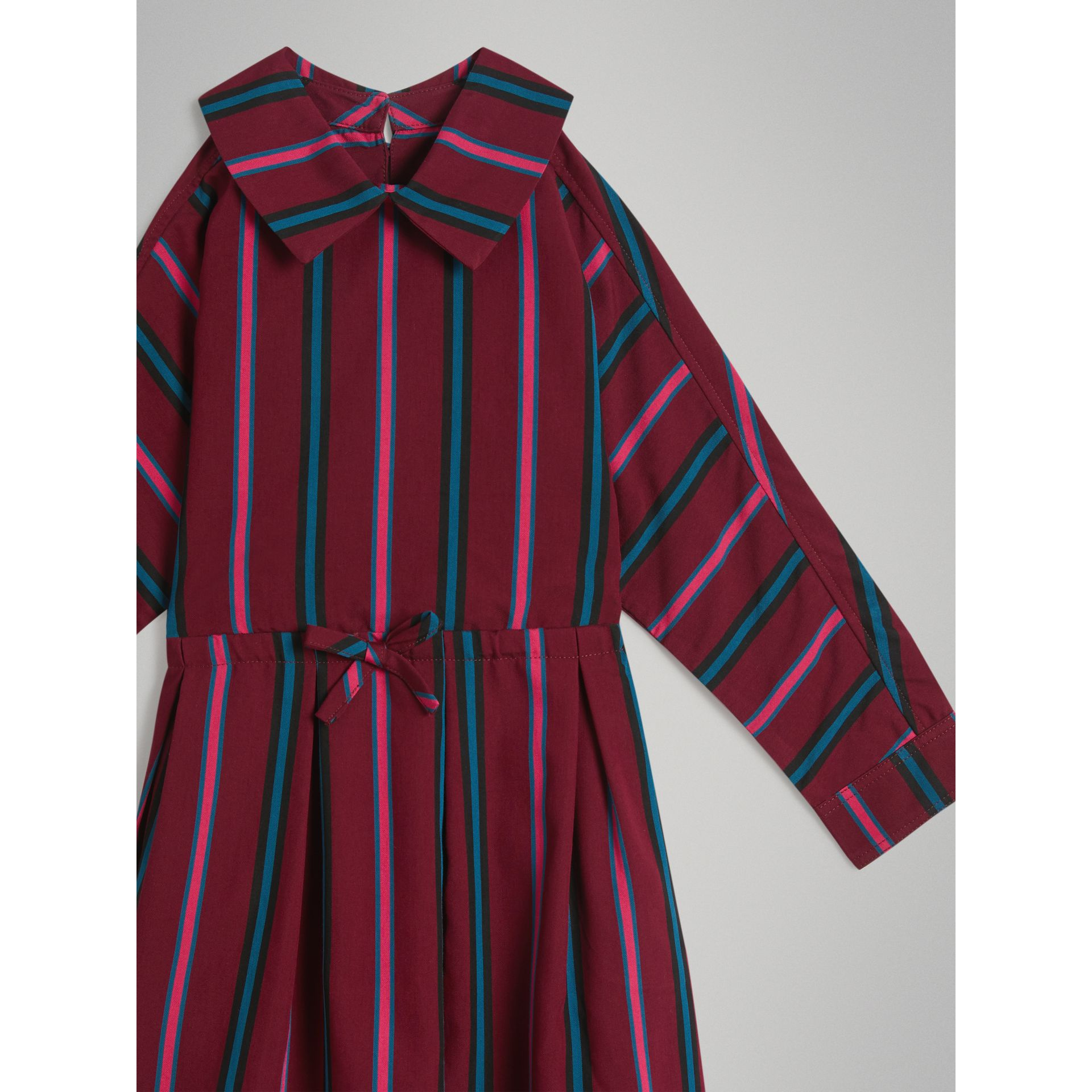 Striped Drawcord Dress in Burgundy - Girl | Burberry - gallery image 4