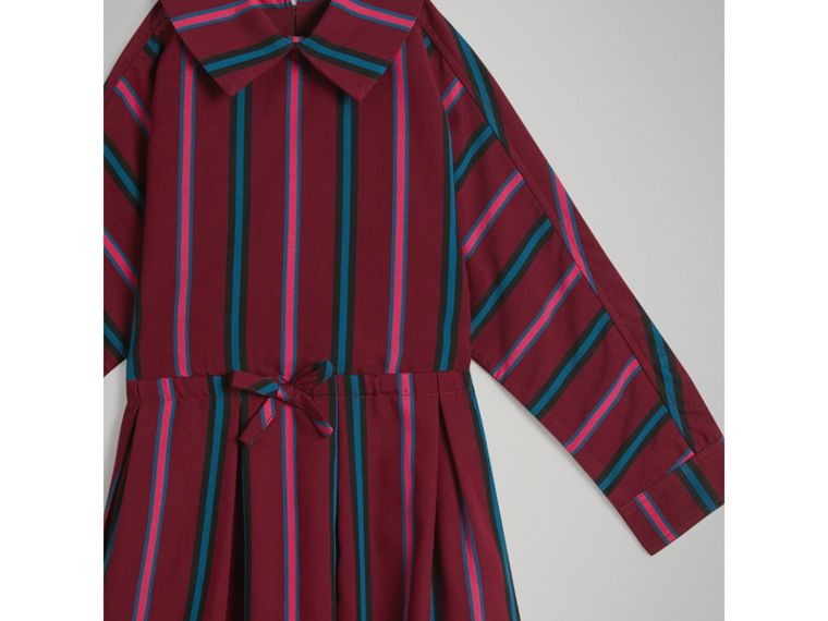 Striped Drawcord Dress in Burgundy - Girl | Burberry - cell image 4