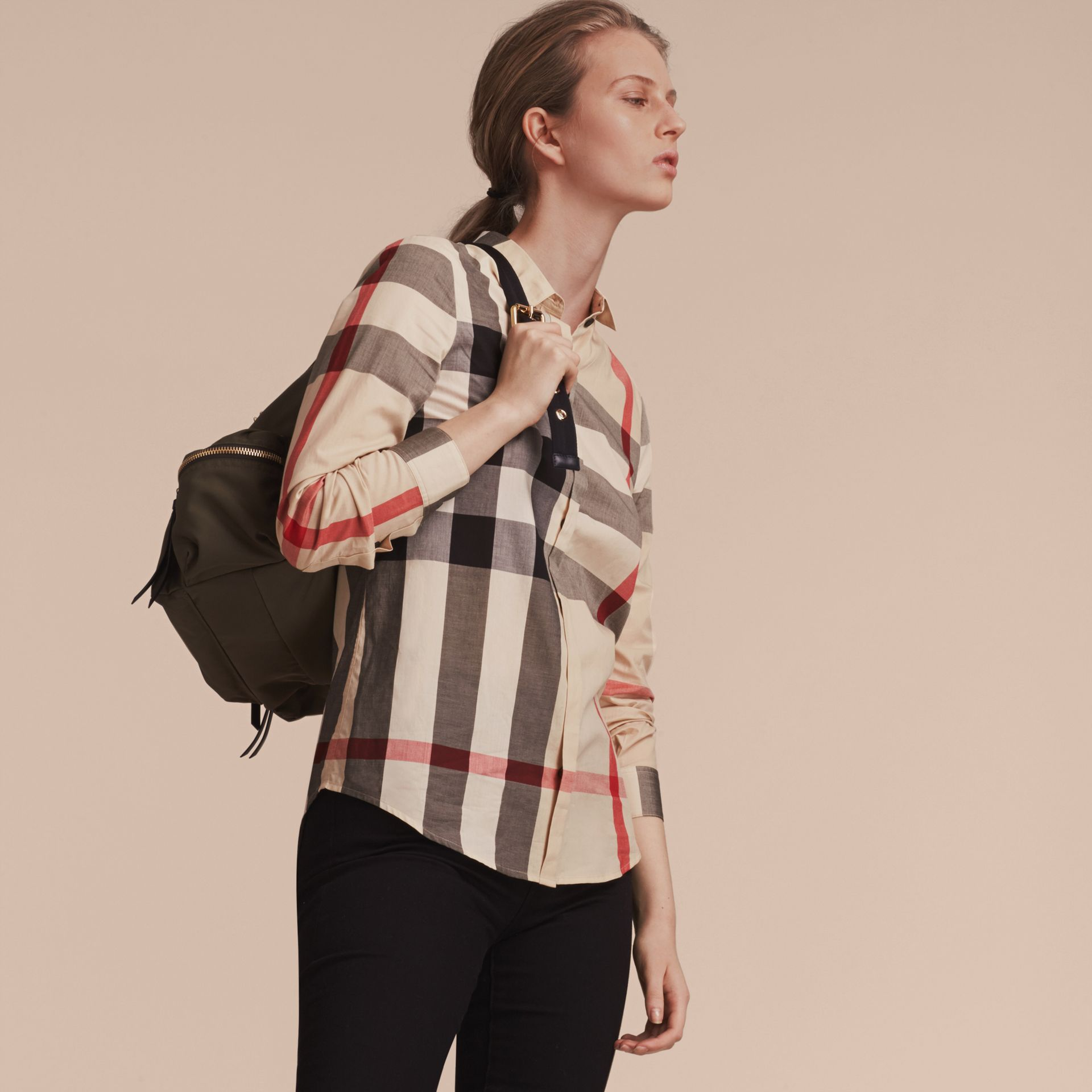 Check Cotton Shirt in New Classic - Women | Burberry - gallery image 6