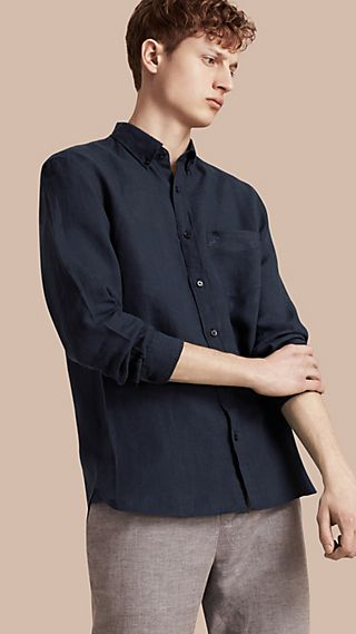Button-down Collar Linen Shirt