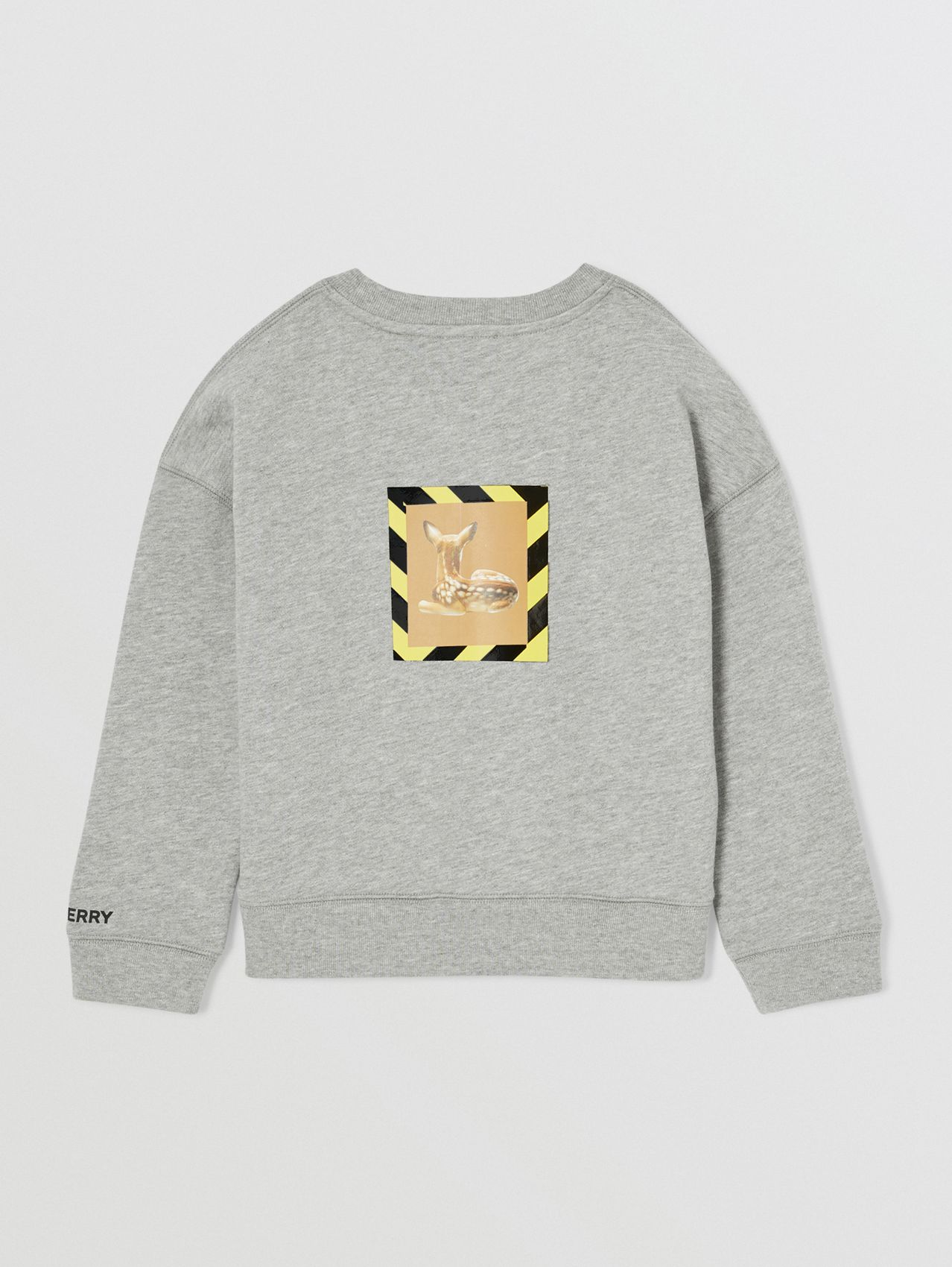 Deer Print Cotton Sweatshirt in Grey Melange
