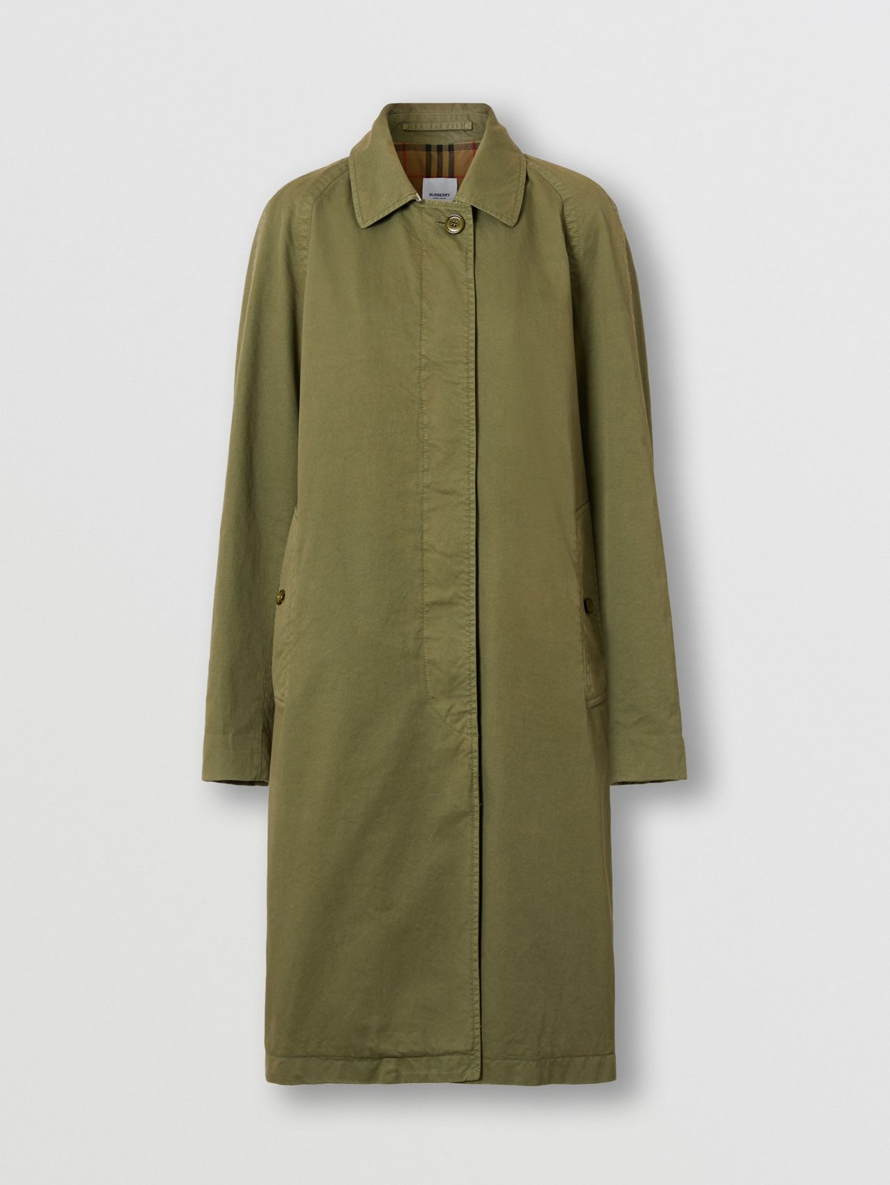 Cotton Gabardine Car Coat in Dark Fern Green