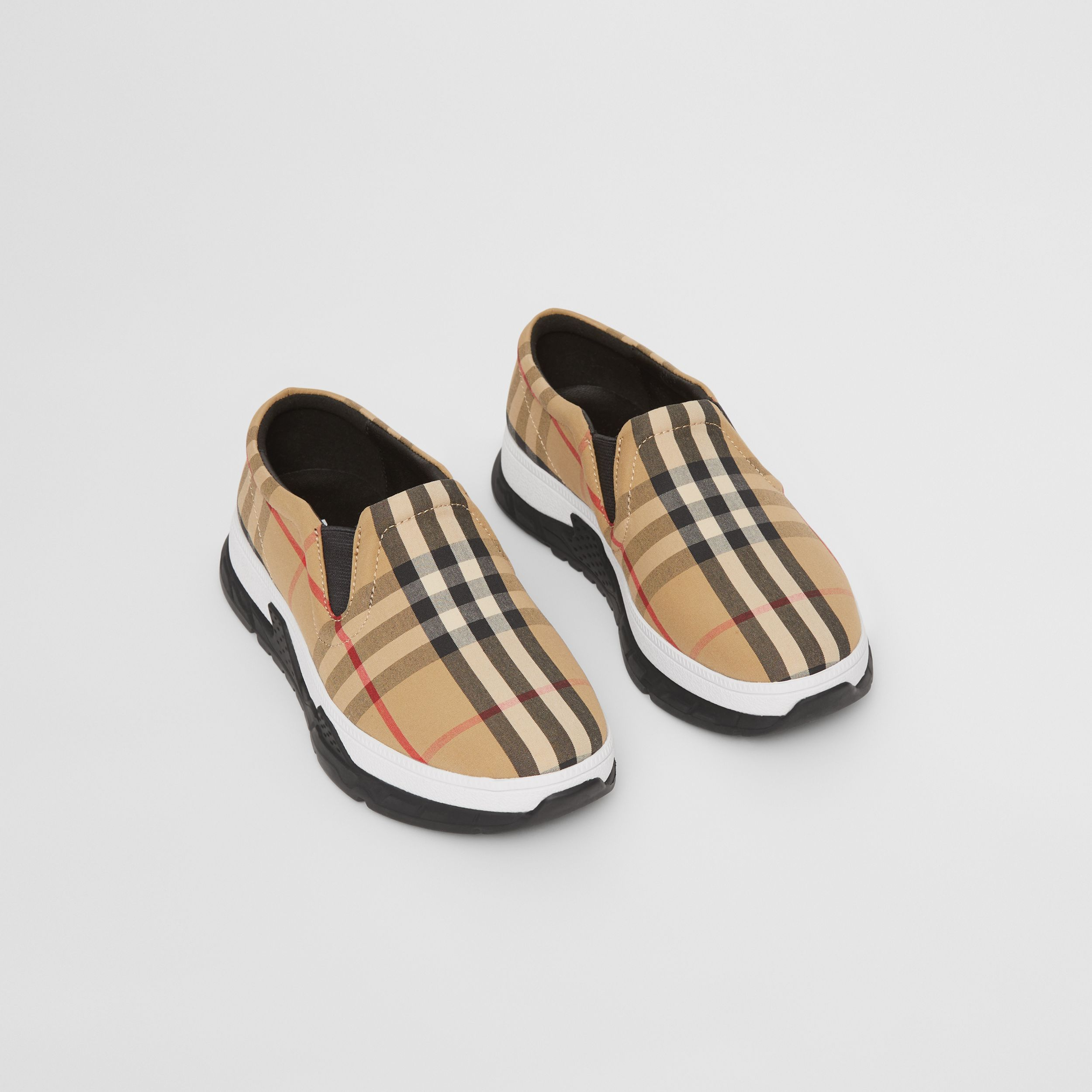 Vintage Check Cotton Slip-on Sneakers in Archive Beige - Children | Burberry Canada - 1