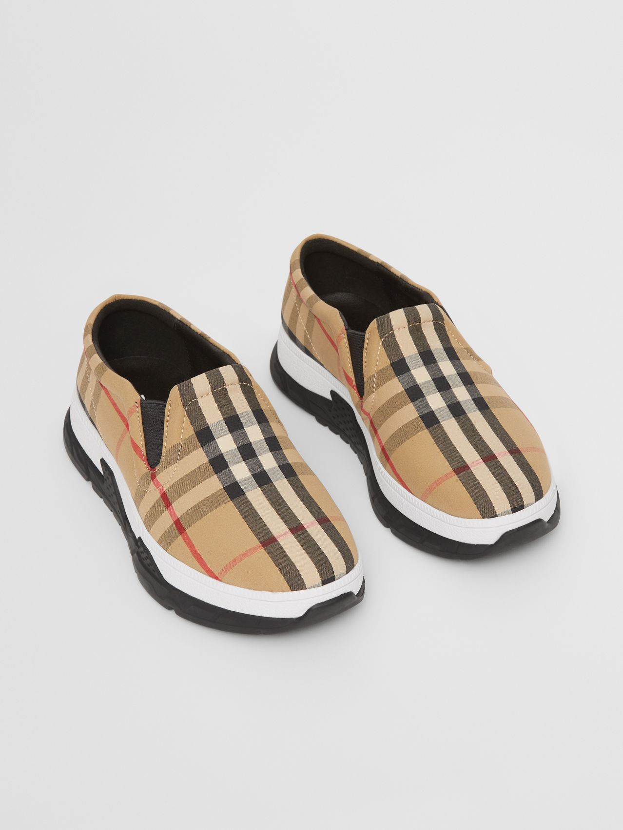 Vintage Check Cotton Slip-on Sneakers in Archive Beige