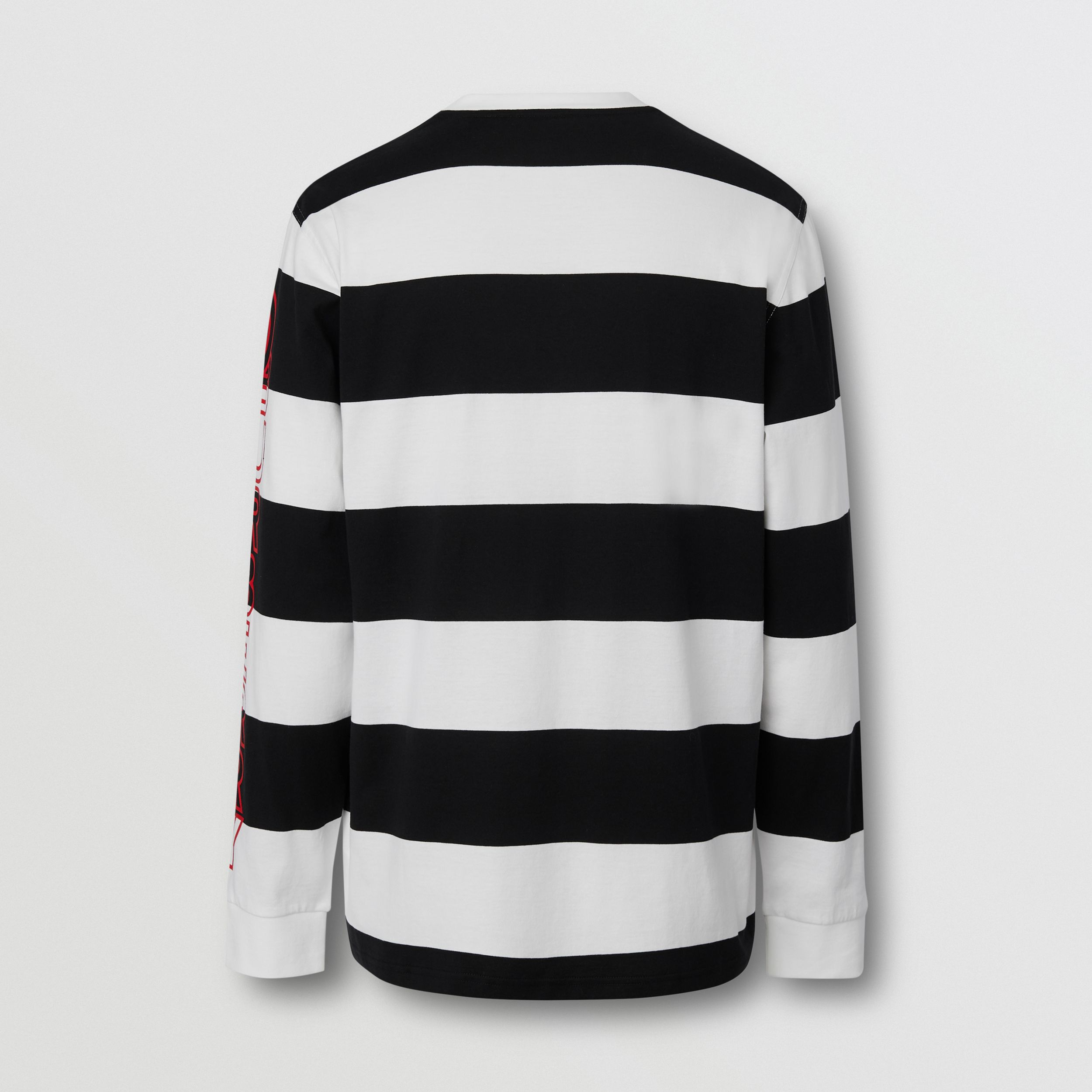 Long-sleeve Striped Cotton Oversized Top in Black/white - Men | Burberry - 2