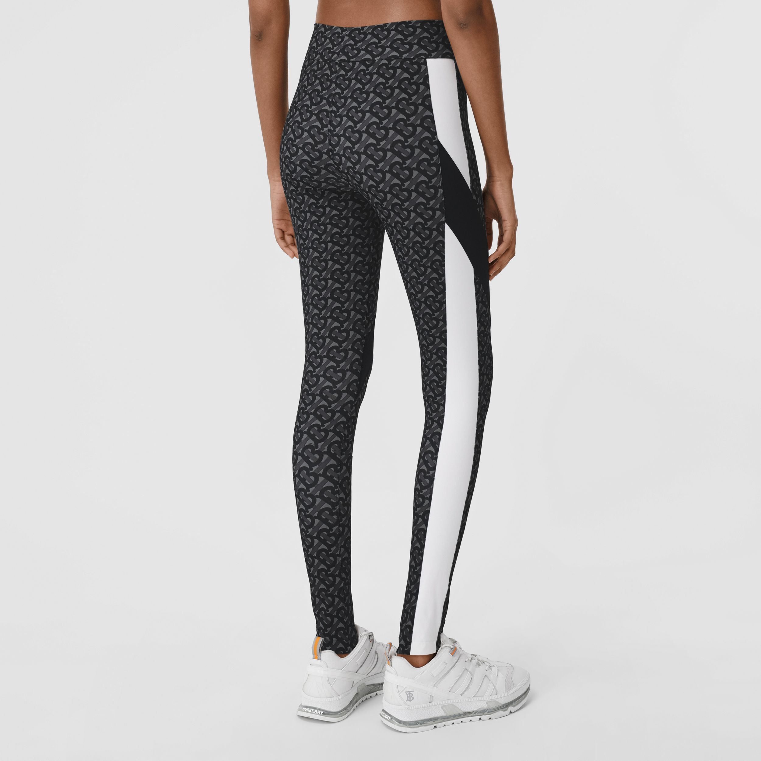 Colour Block Monogram Print Stretch Jersey Leggings in Graphite - Women | Burberry - 3