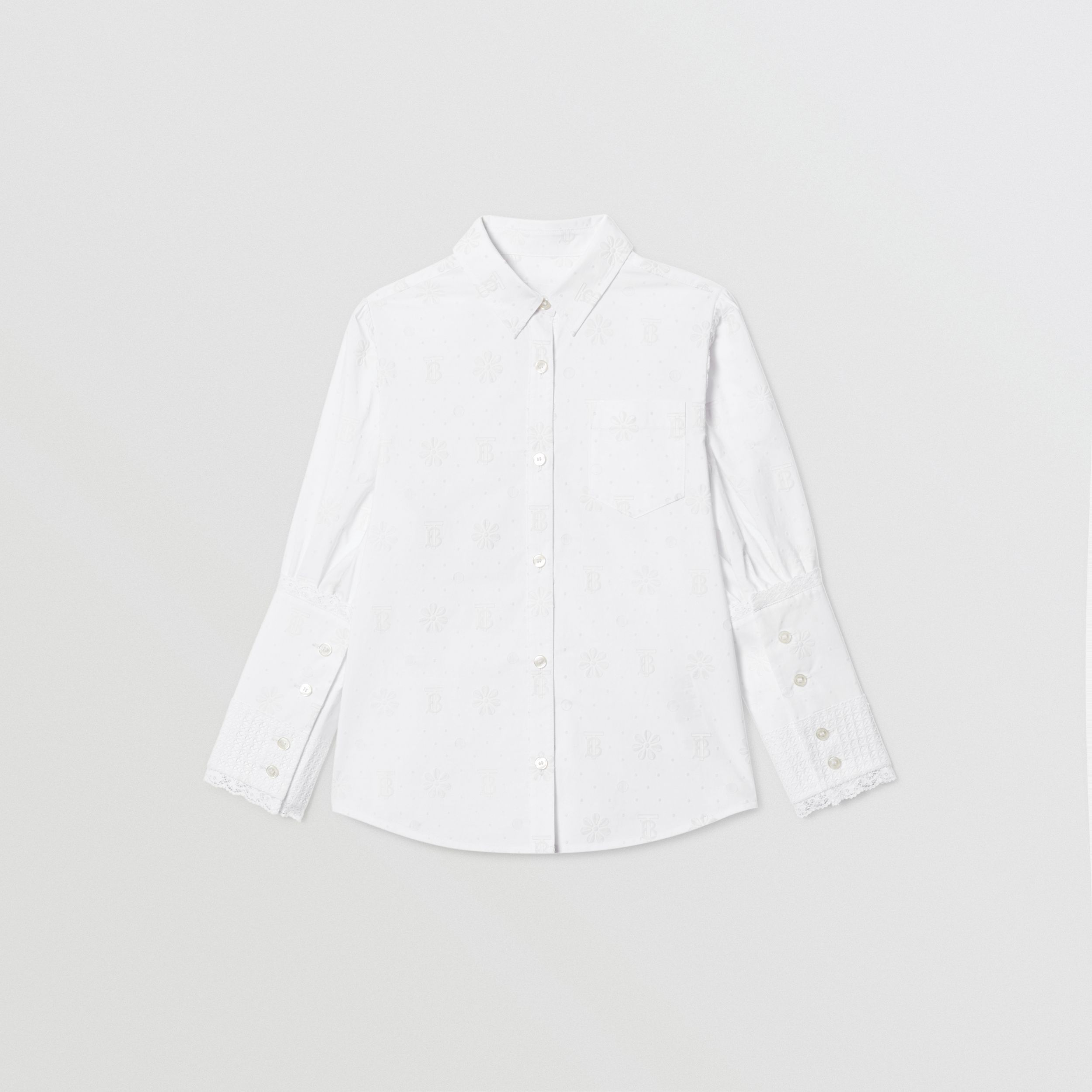 Puff-sleeve Fil Coupé Cotton Blend Shirt in White | Burberry - 1