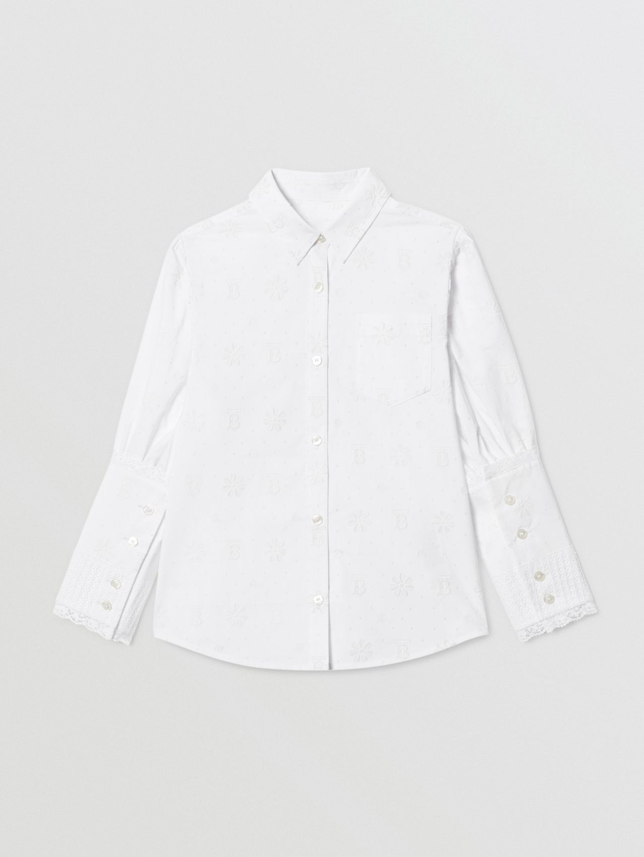 Puff-sleeve Fil Coupé Cotton Blend Shirt (White)