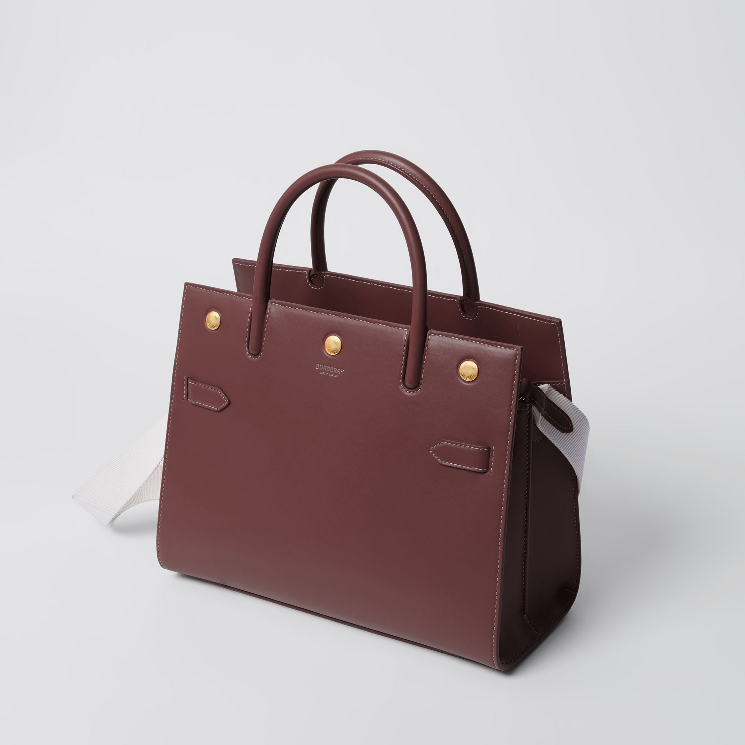 Medium Leather Two-handle Title Bag in Garnet - Women | Burberry Australia - 3