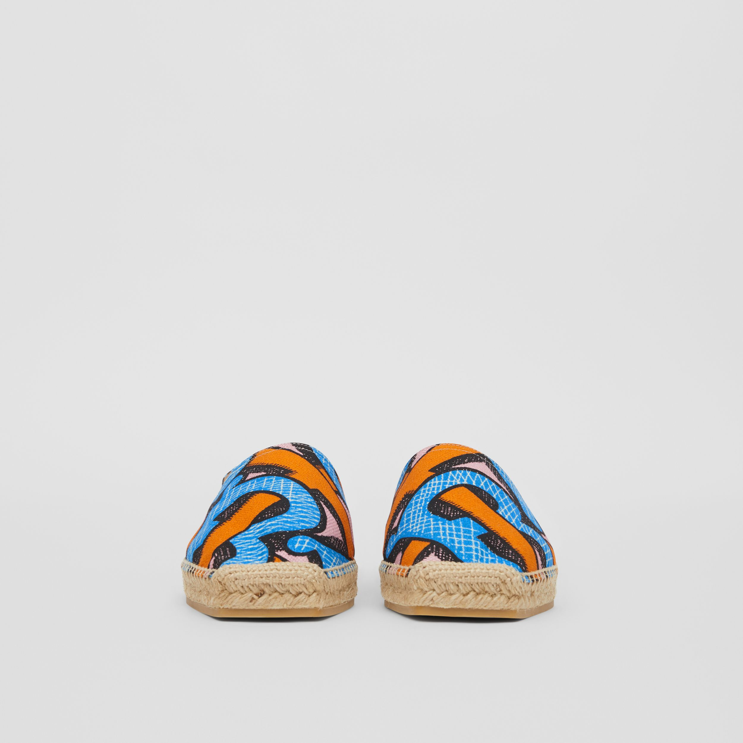 Monogram Print Cotton Canvas Espadrilles in Bright Cobalt - Women | Burberry - 4