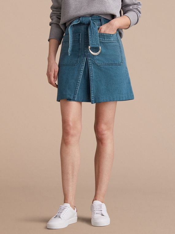 Patch Pocket Denim A-line Skirt