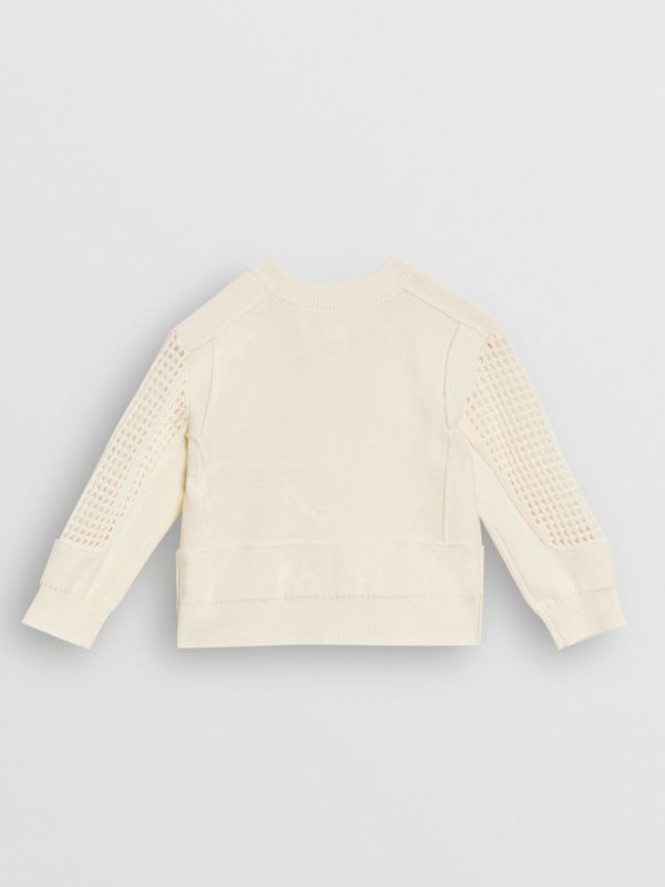 Open Knit Cotton Crew Neck Cardigan in Ivory - Children | Burberry - cell image 3
