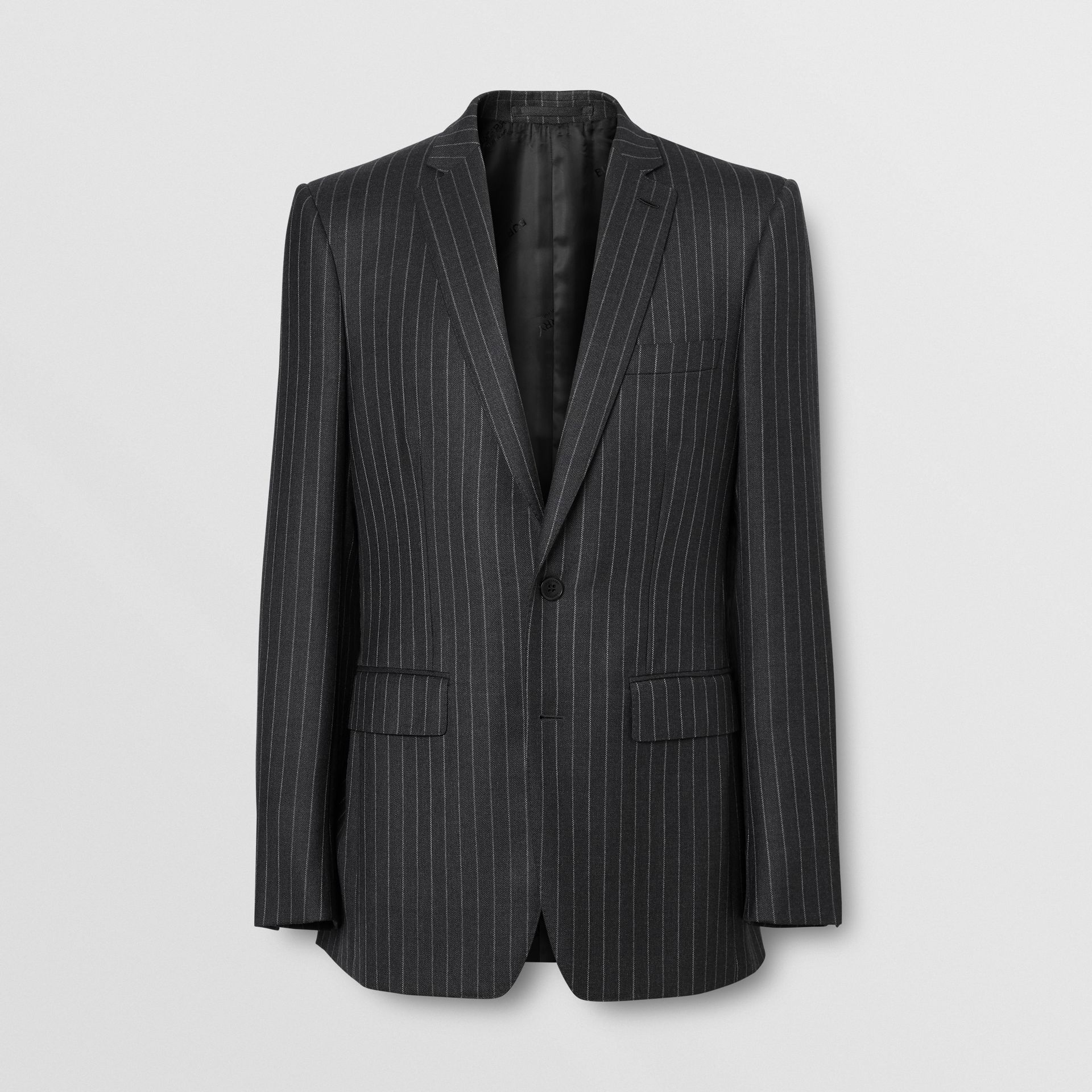 English Fit Pinstriped Wool Suit in Mid Grey Melange - Men | Burberry United Kingdom - gallery image 3