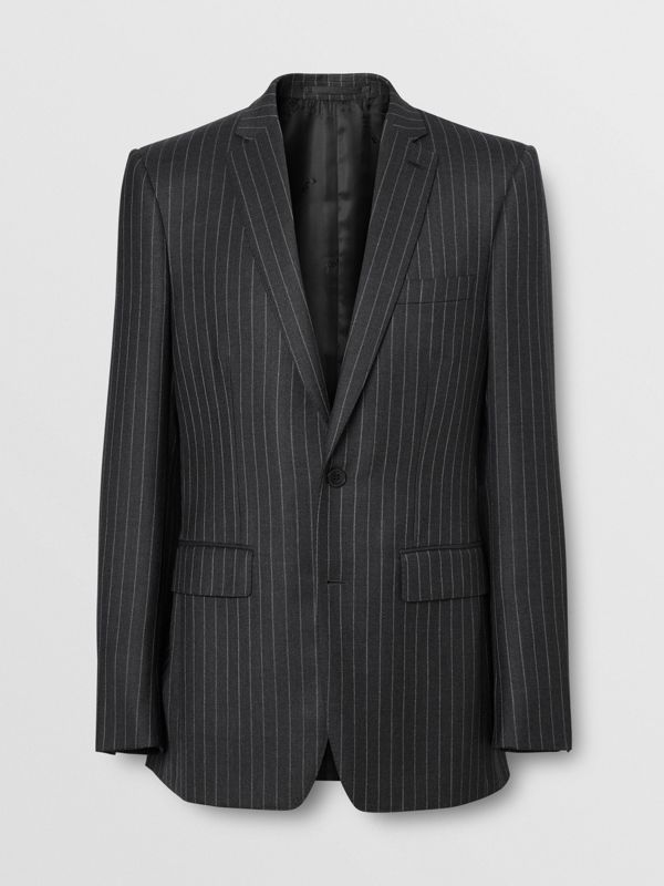 English Fit Pinstriped Wool Suit in Mid Grey Melange - Men | Burberry Australia - cell image 3