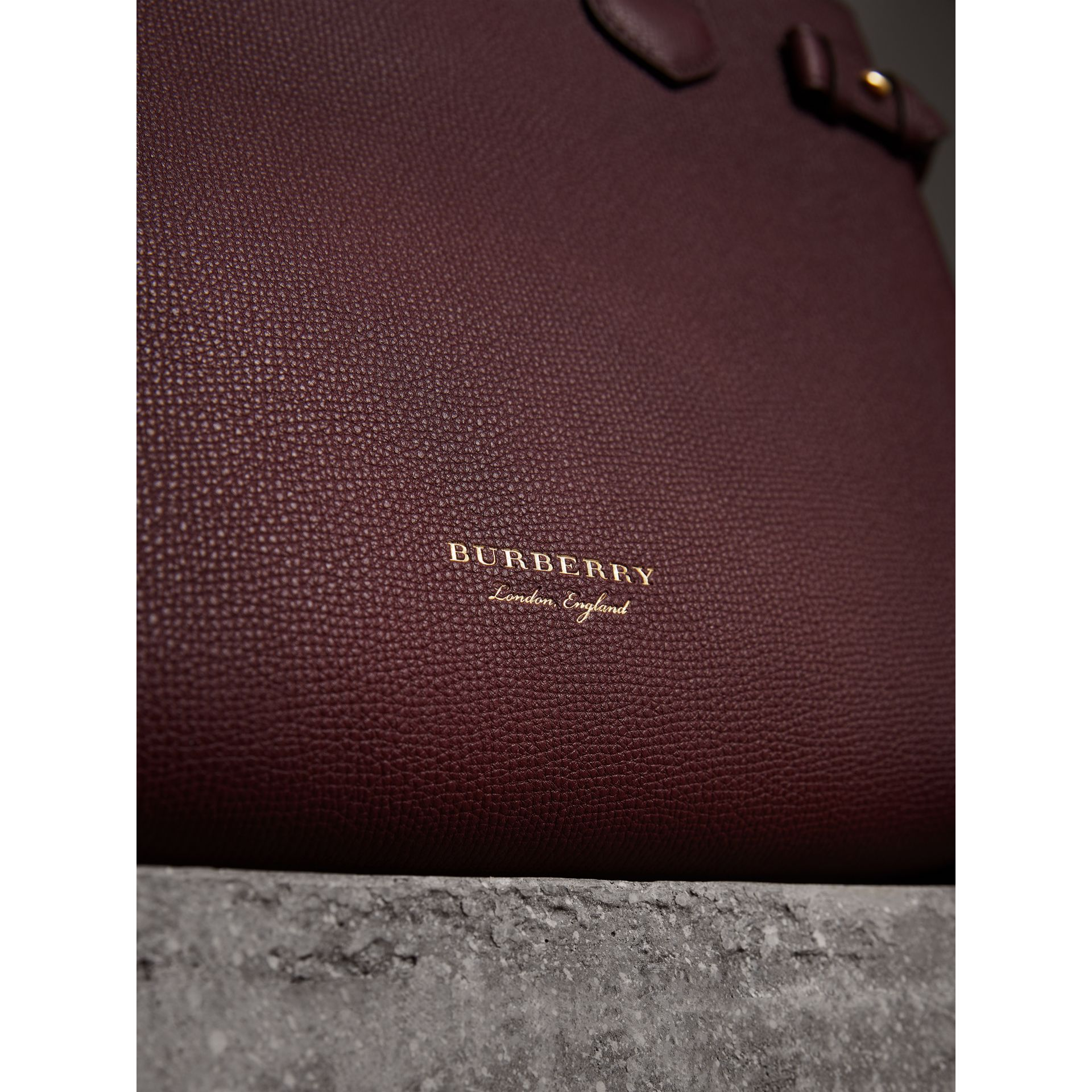 The Medium Banner in Leather and House Check in Mahogany Red - Women | Burberry - gallery image 1