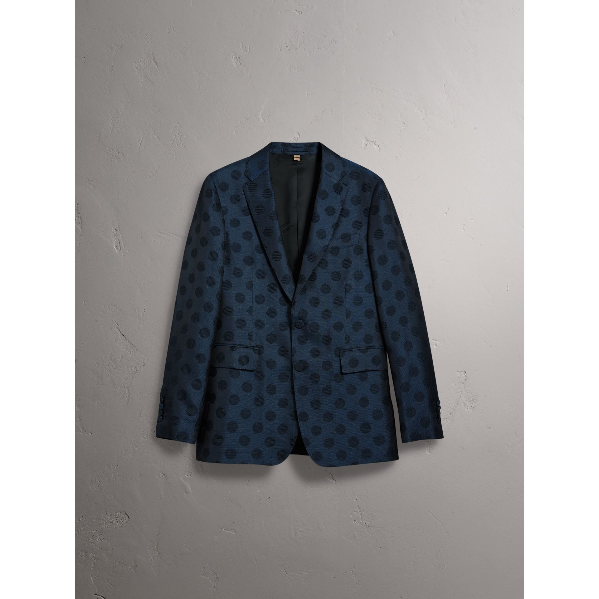 Soho Fit Spot Wool Silk Cotton Evening Jacket in Midnight Blue - Men | Burberry - gallery image 3