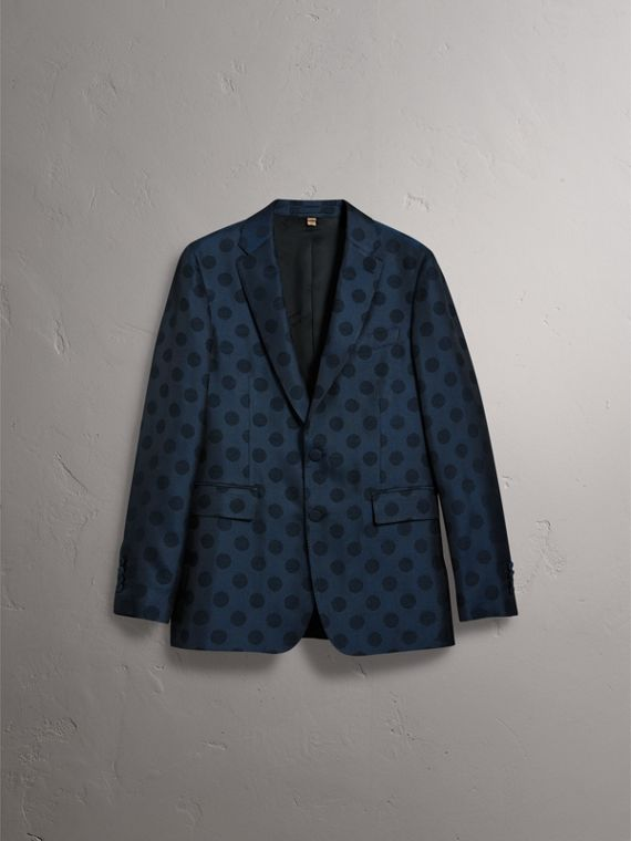 Soho Fit Spot Wool Silk Cotton Evening Jacket in Midnight Blue - Men | Burberry Canada - cell image 3