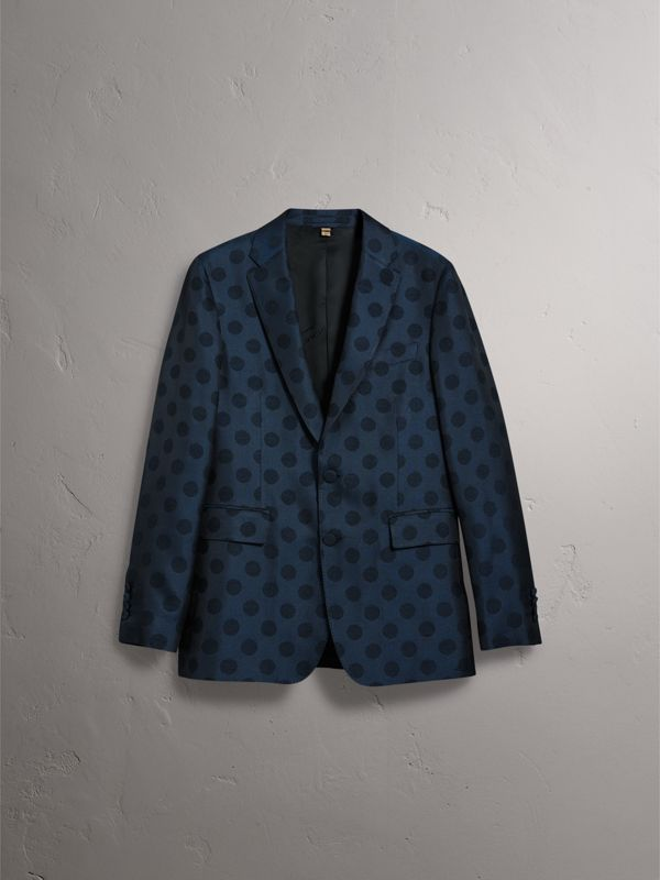 Soho Fit Spot Wool Silk Cotton Evening Jacket in Midnight Blue - Men | Burberry - cell image 3