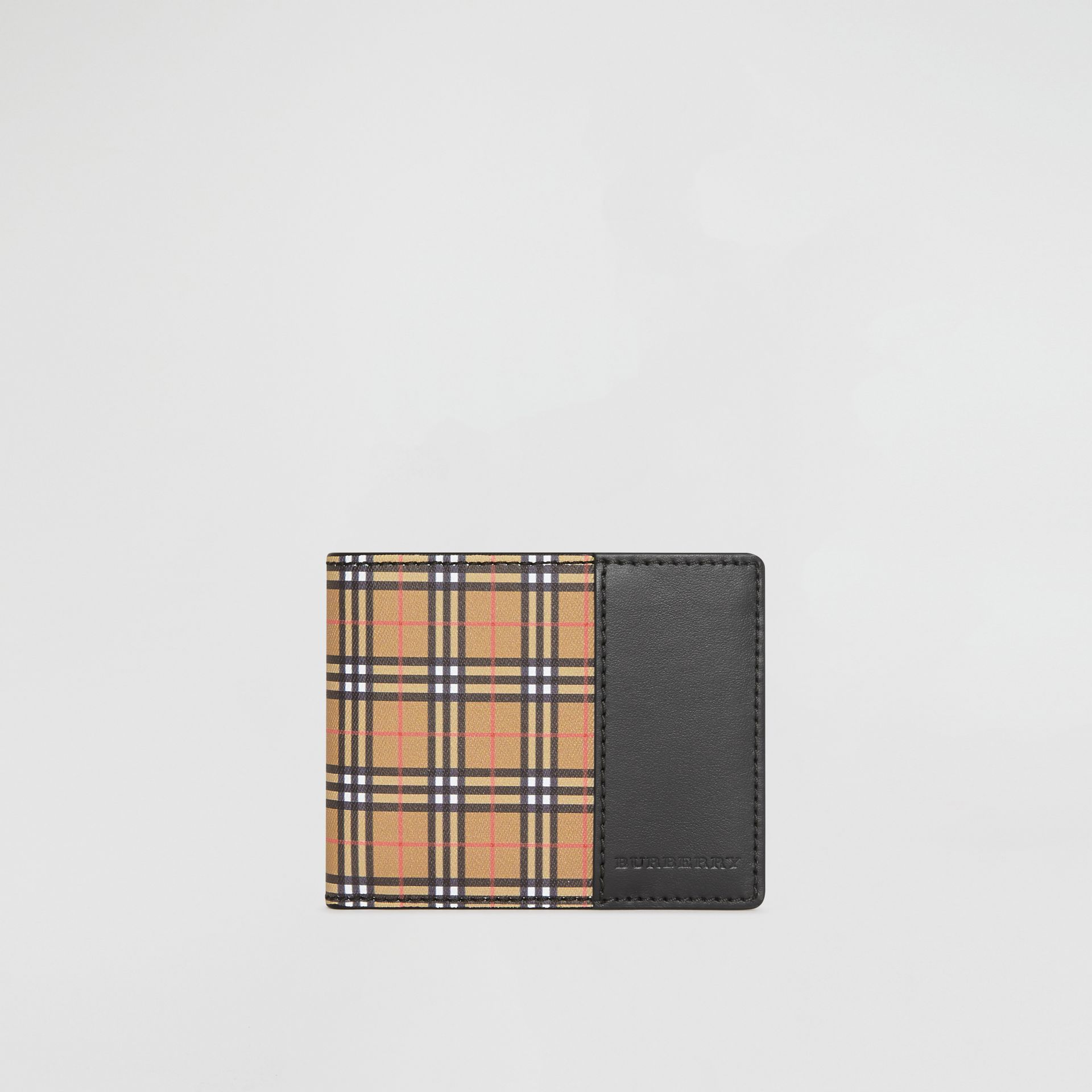 Small Scale Check and Leather Bifold Wallet in Antique Yellow/black - Men | Burberry Singapore - gallery image 2