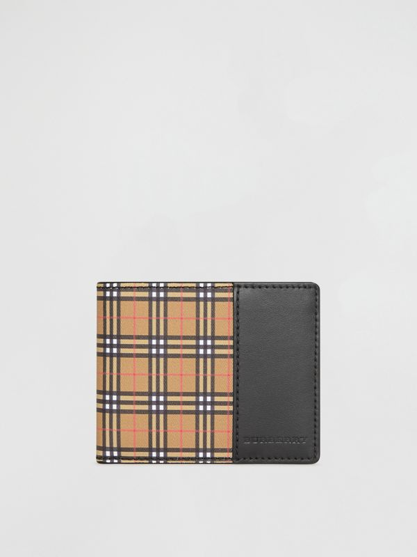 Small Scale Check and Leather Bifold Wallet in Antique Yellow/black - Men | Burberry - cell image 2