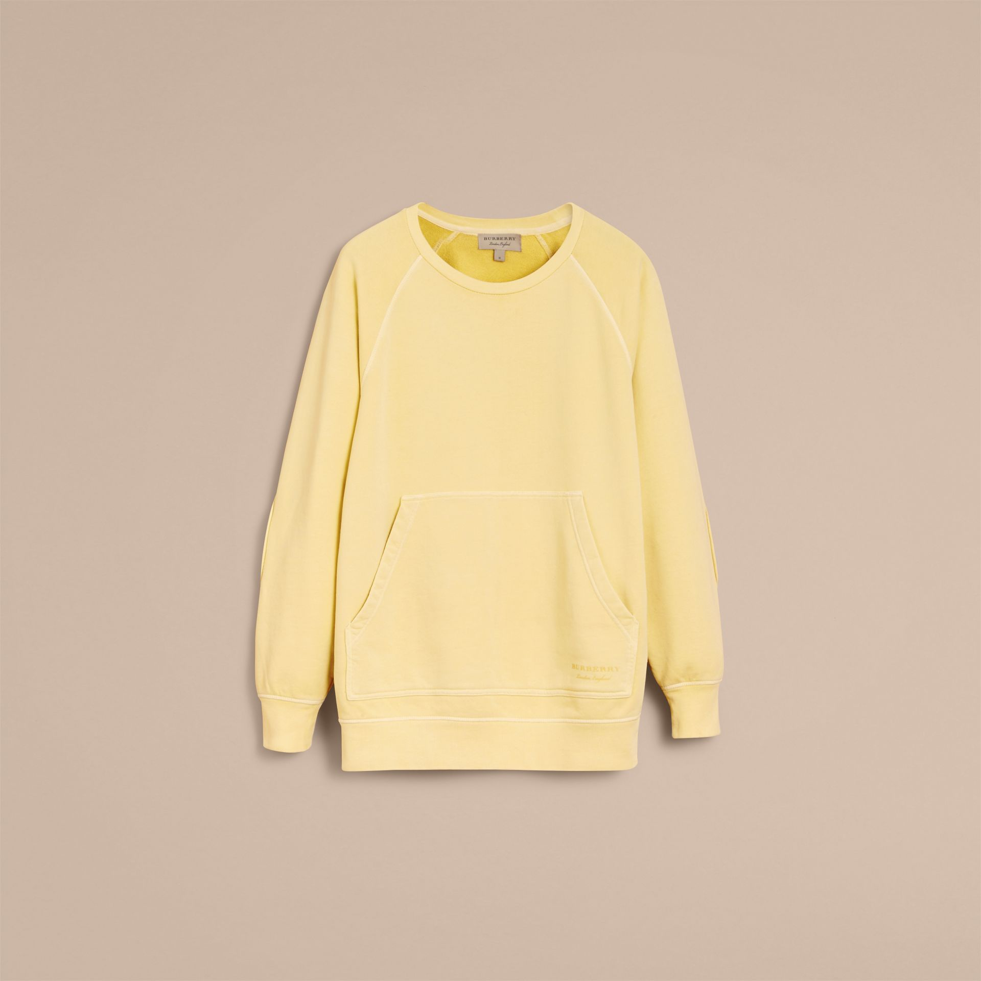 Unisex Pigment-dyed Cotton Oversize Sweatshirt in Pale Yellow - Men | Burberry Hong Kong - gallery image 4