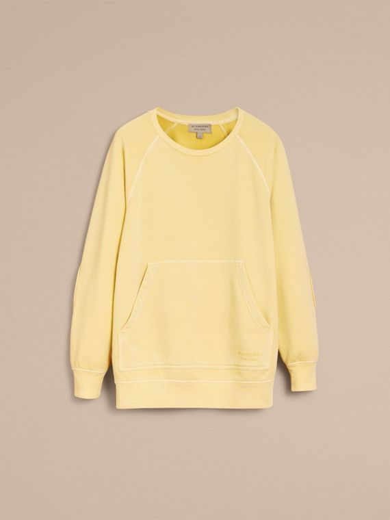 Unisex Pigment-dyed Cotton Oversize Sweatshirt in Pale Yellow - Men | Burberry Hong Kong - cell image 3