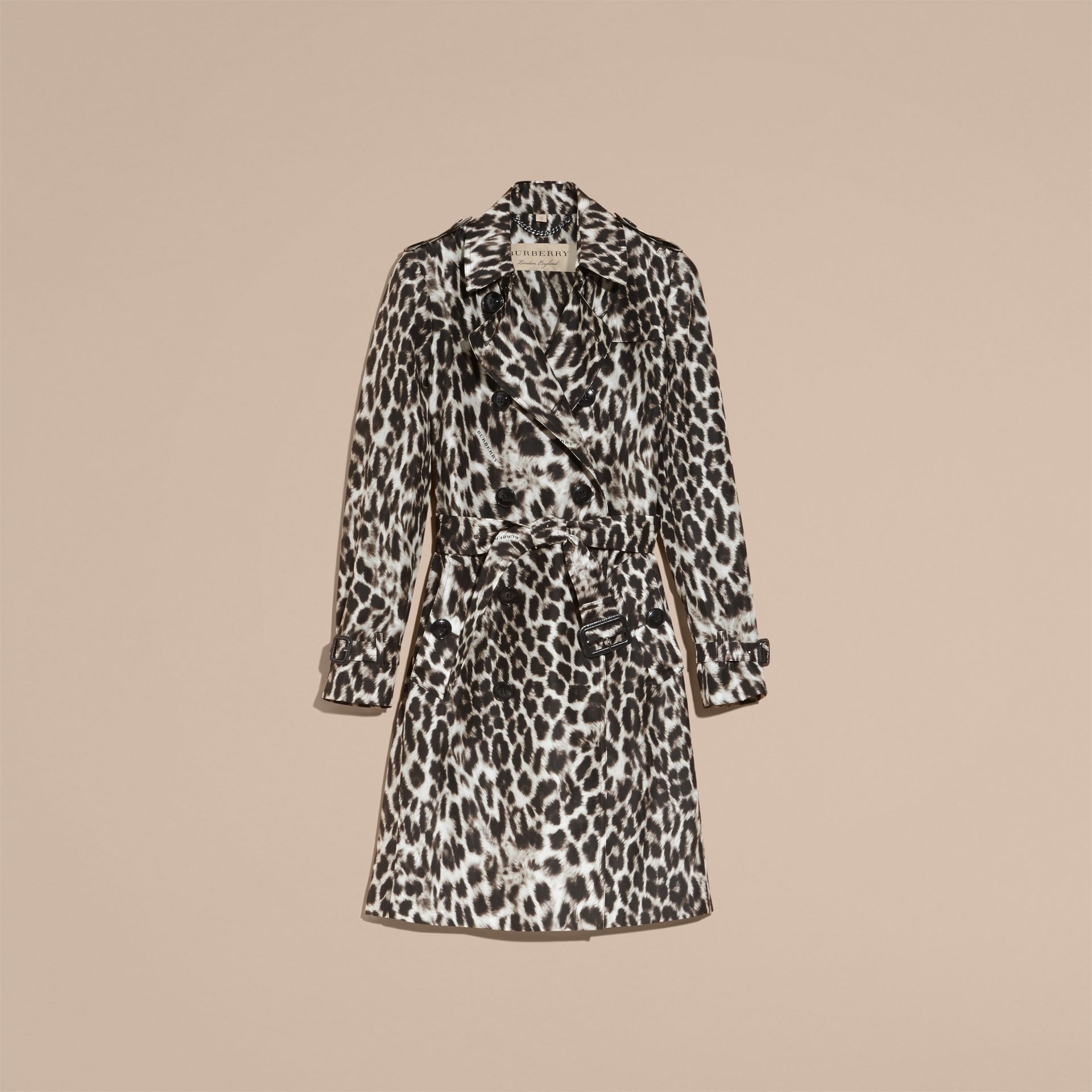 Animal Print Silk Trench Coat - gallery image 4