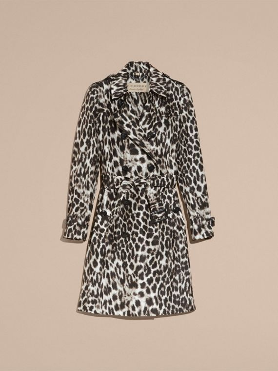 Animal Print Silk Trench Coat - cell image 3