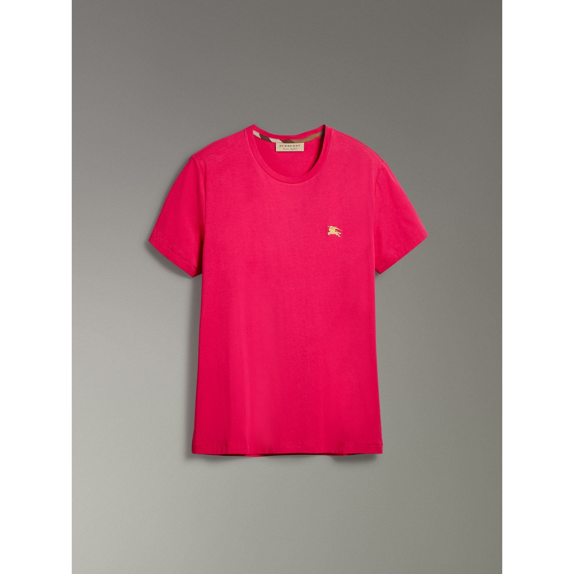 Cotton Jersey T-shirt in Bright Pink - Men | Burberry - gallery image 3