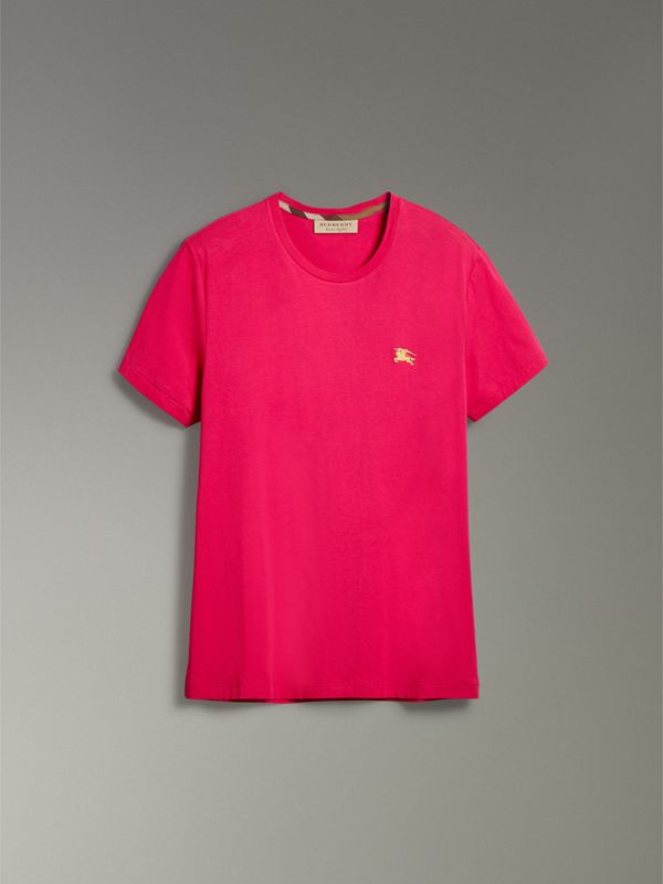 Cotton Jersey T-shirt in Bright Pink - Men | Burberry - cell image 3