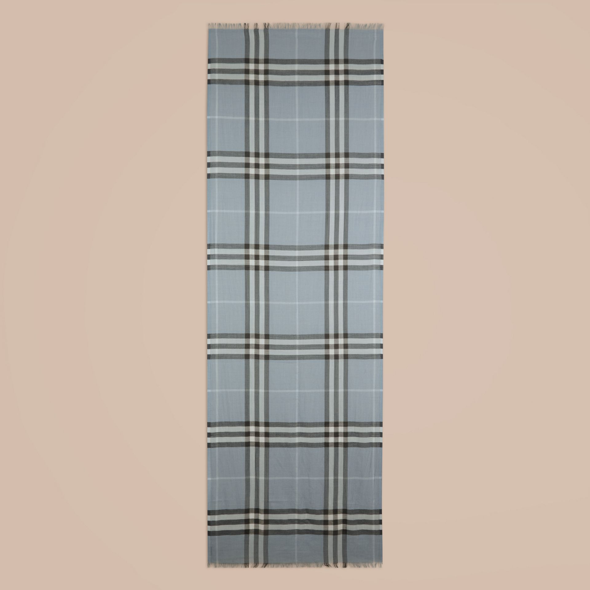 Lightweight Check Wool and Silk Scarf Dusty Blue - gallery image 4