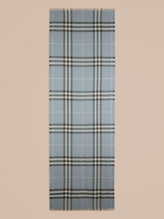 Lightweight Check Wool and Silk Scarf in Dusty Blue - cell image 3