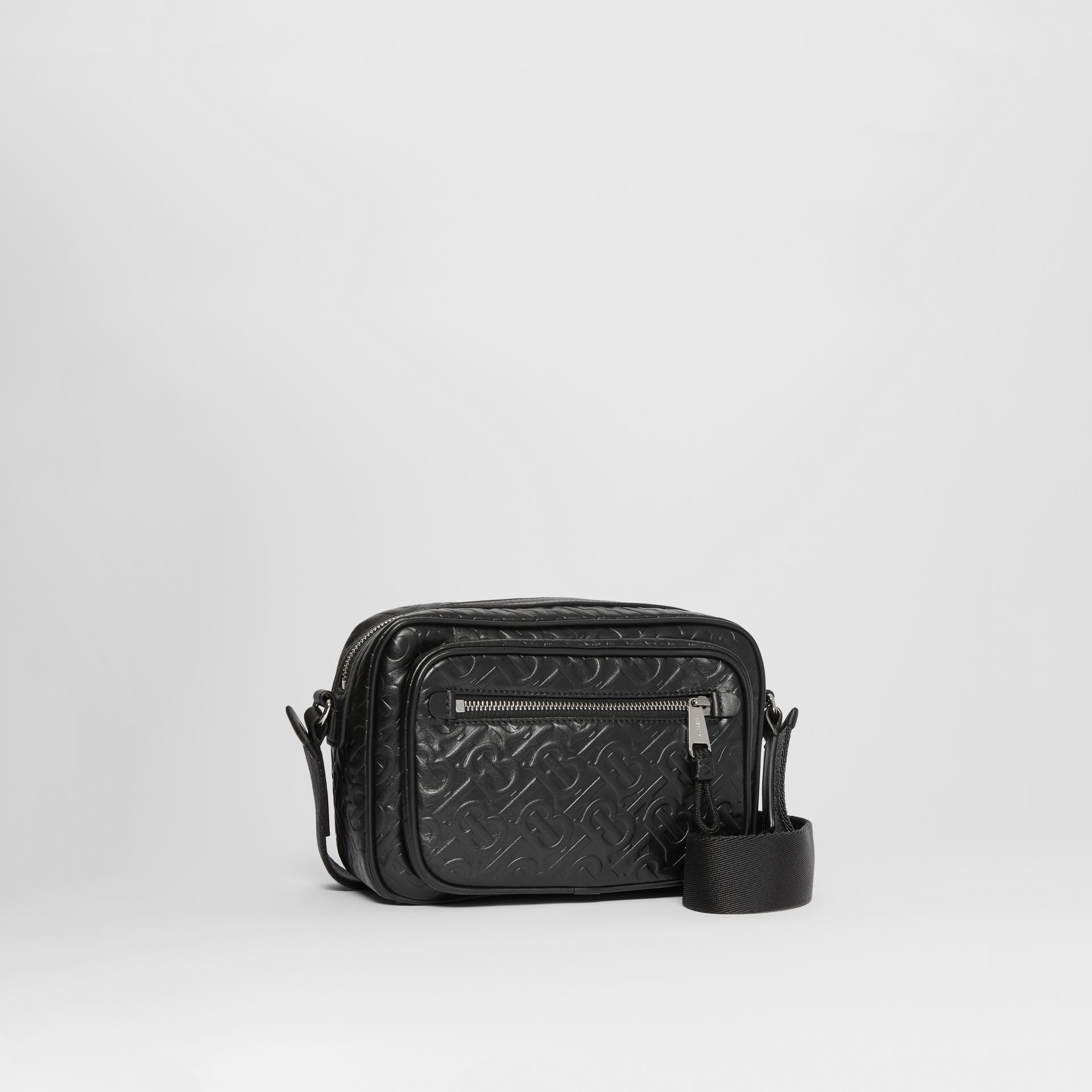 Monogram Leather Crossbody Bag in Black - Men | Burberry Australia - gallery image 6