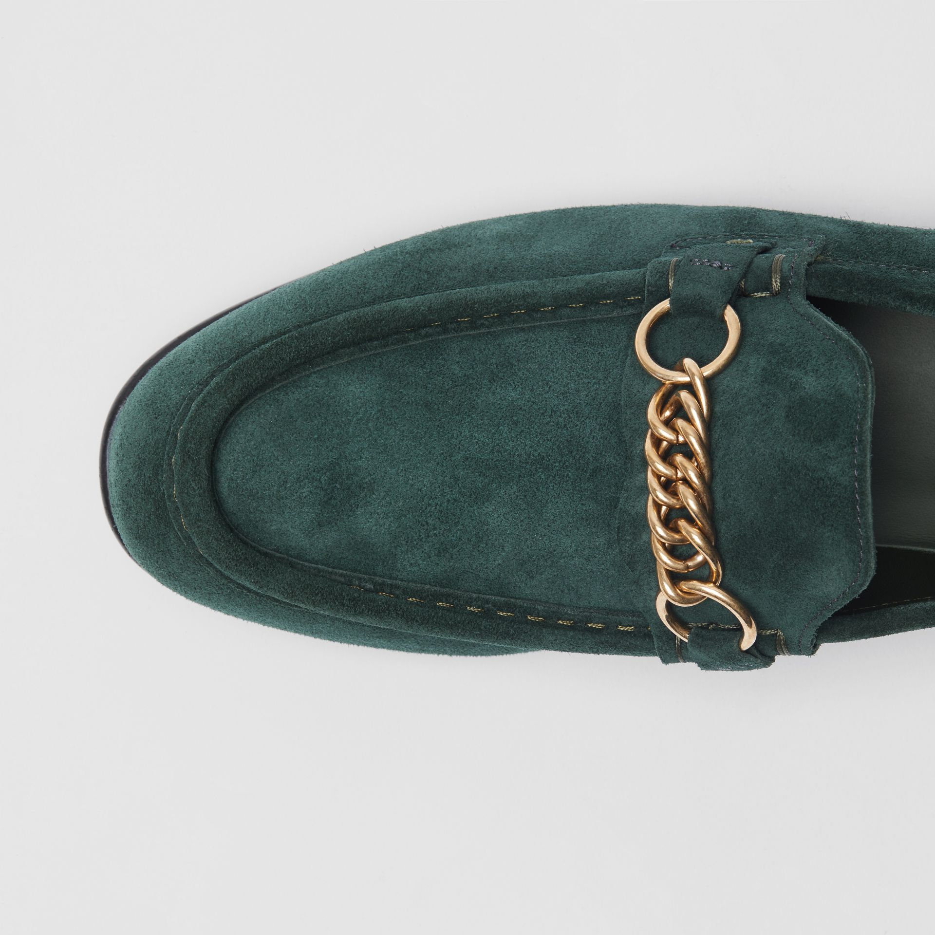 The Suede Link Loafer in Dark Slate Green - Men | Burberry - gallery image 1