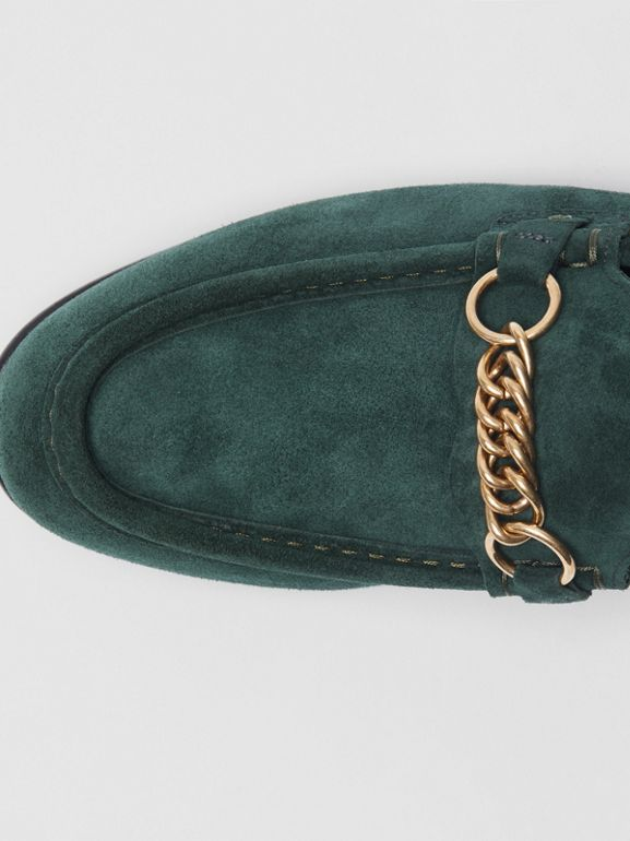 The Suede Link Loafer in Dark Slate Green - Men | Burberry - cell image 1