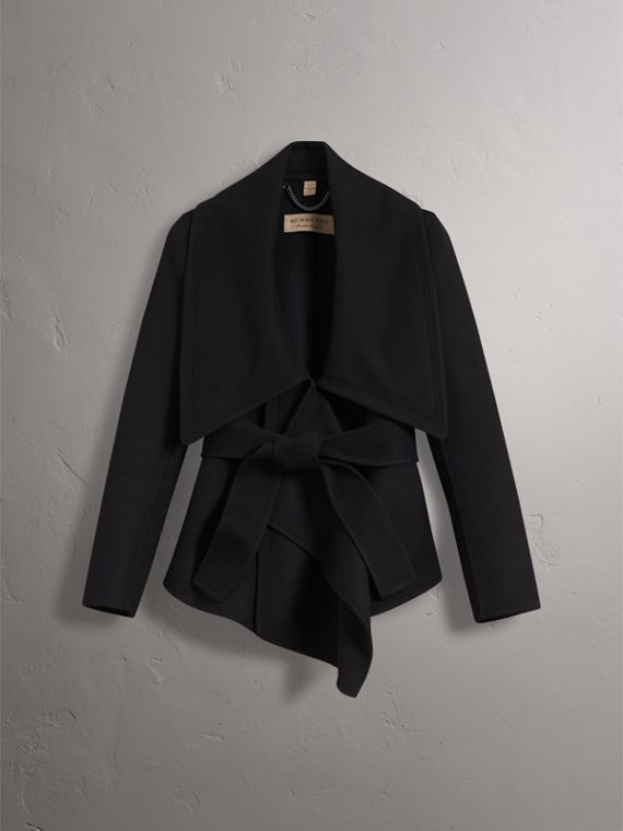 Double-faced Wool Cashmere Wrap Jacket in Black - Women | Burberry - cell image 2