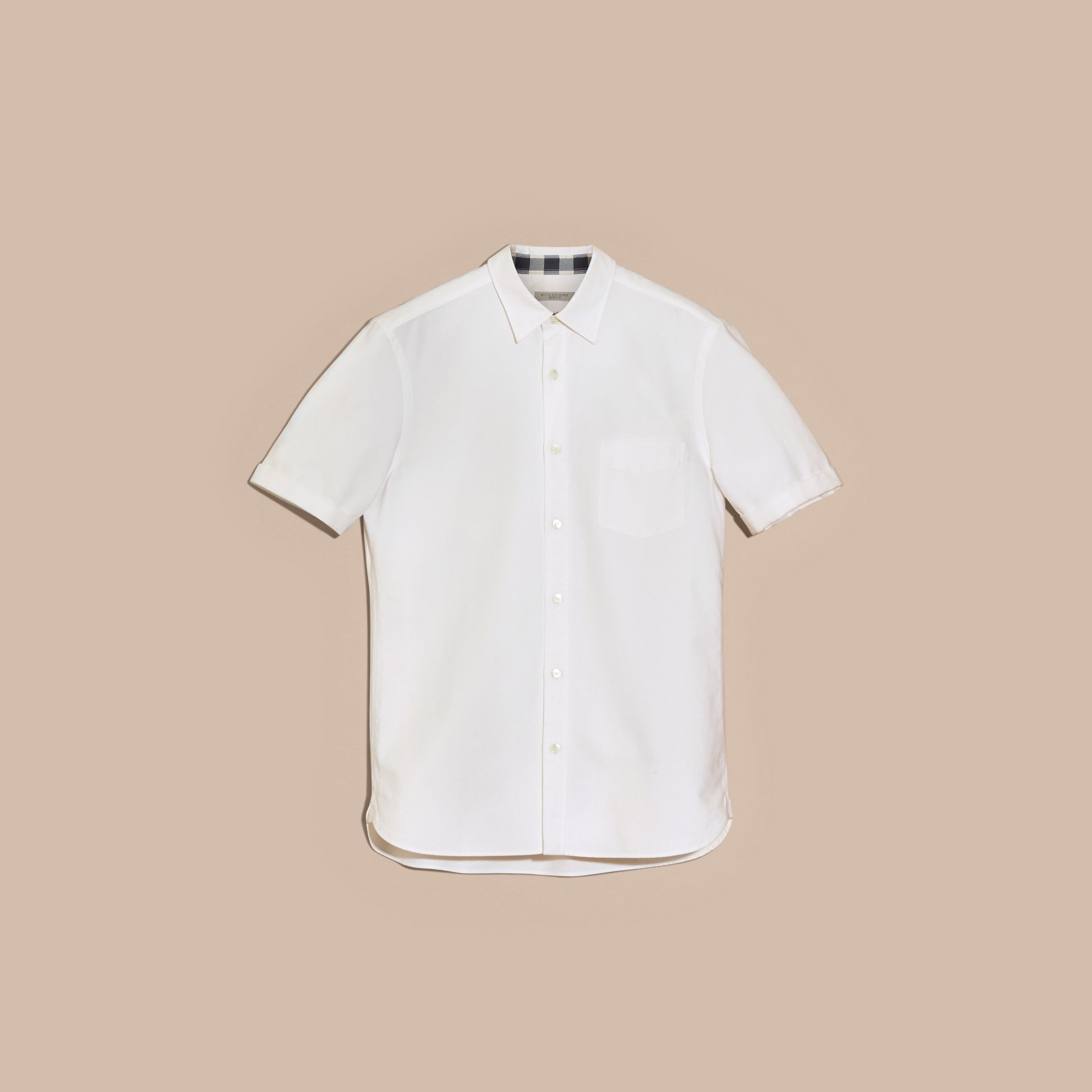 Check Detail Short-Sleeved Cotton Oxford Shirt in White - gallery image 4