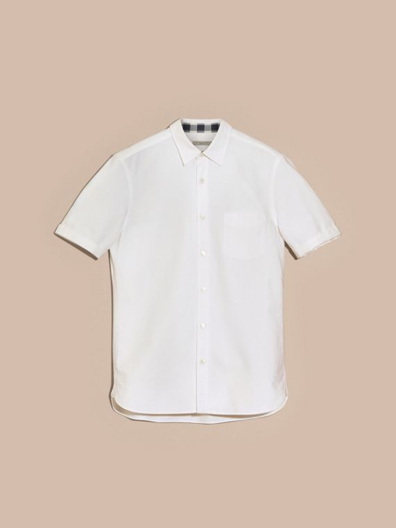 Check Detail Short-Sleeved Cotton Oxford Shirt in White - cell image 3