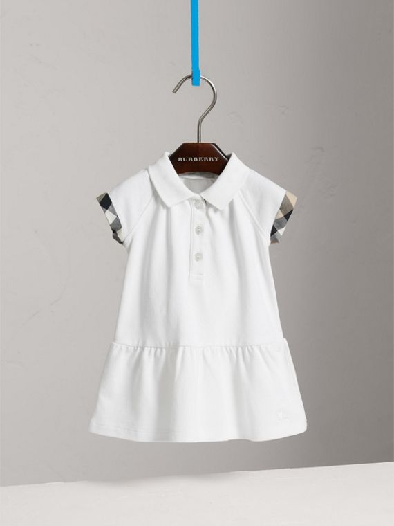 Check Detail Stretch Cotton Piqué Dress in White | Burberry - cell image 2