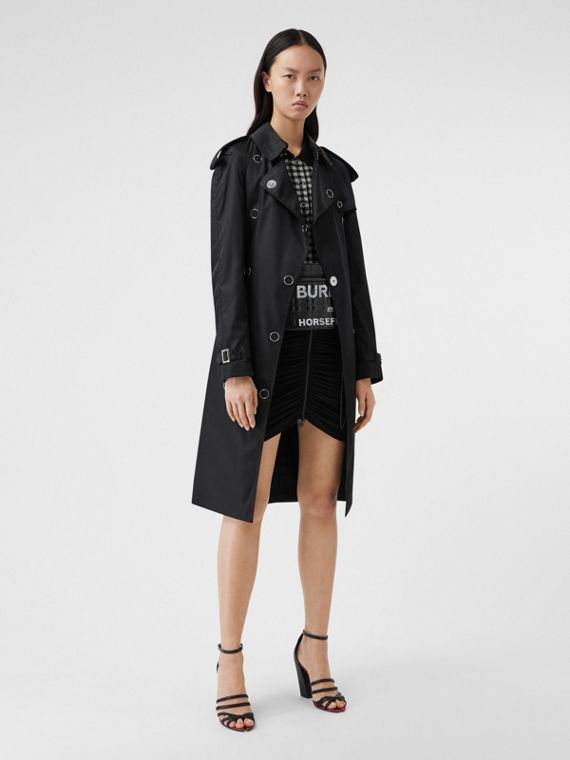 Press-stud Detail ECONYL® Trench Coat in Black