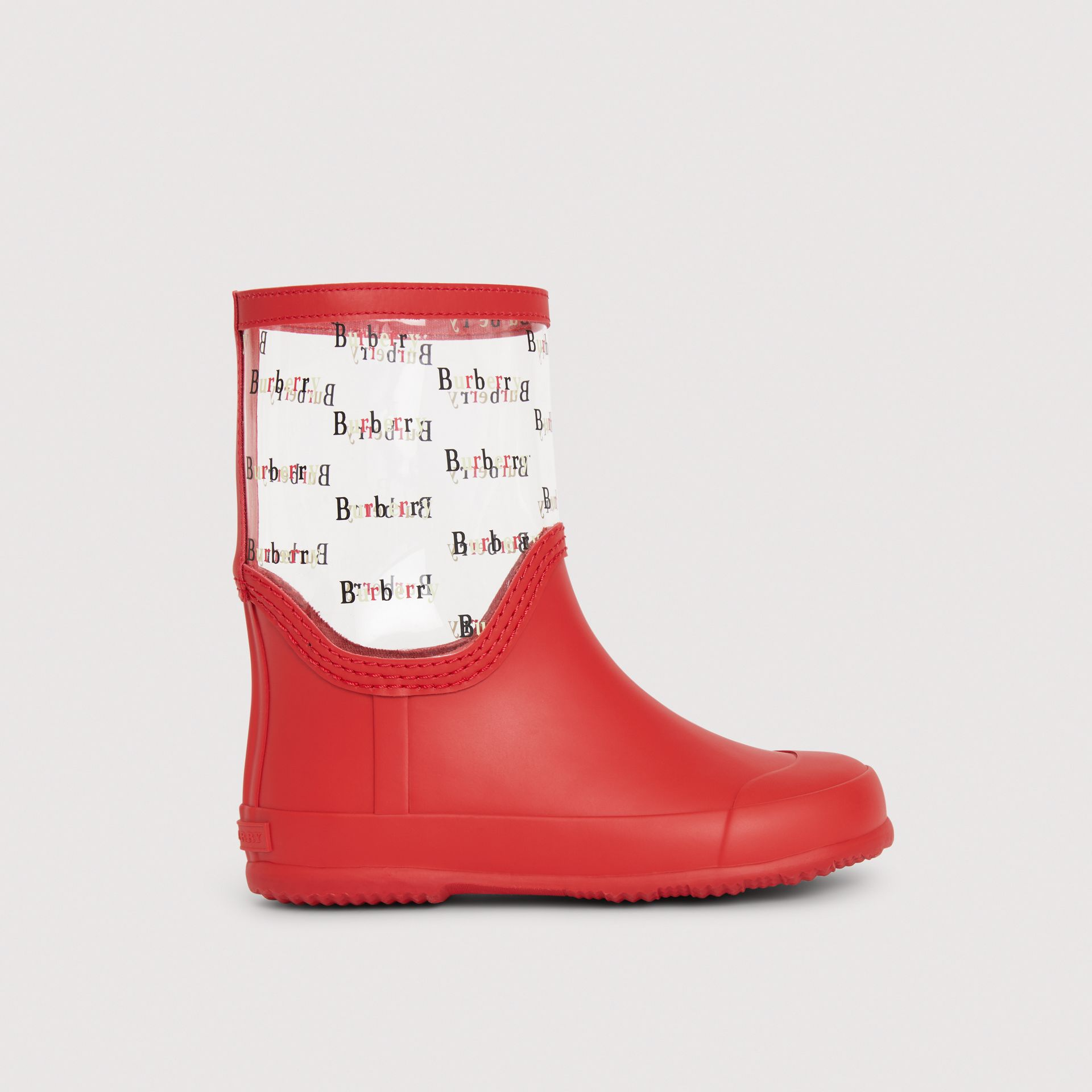 Logo Print Rubber Rain Boots in Bright Red | Burberry - gallery image 3