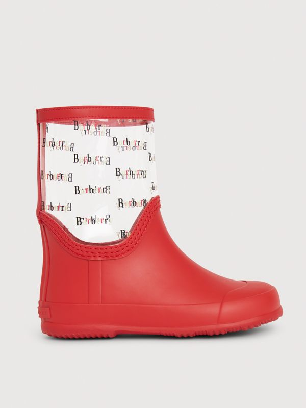 Logo Print Rubber Rain Boots in Bright Red | Burberry - cell image 3