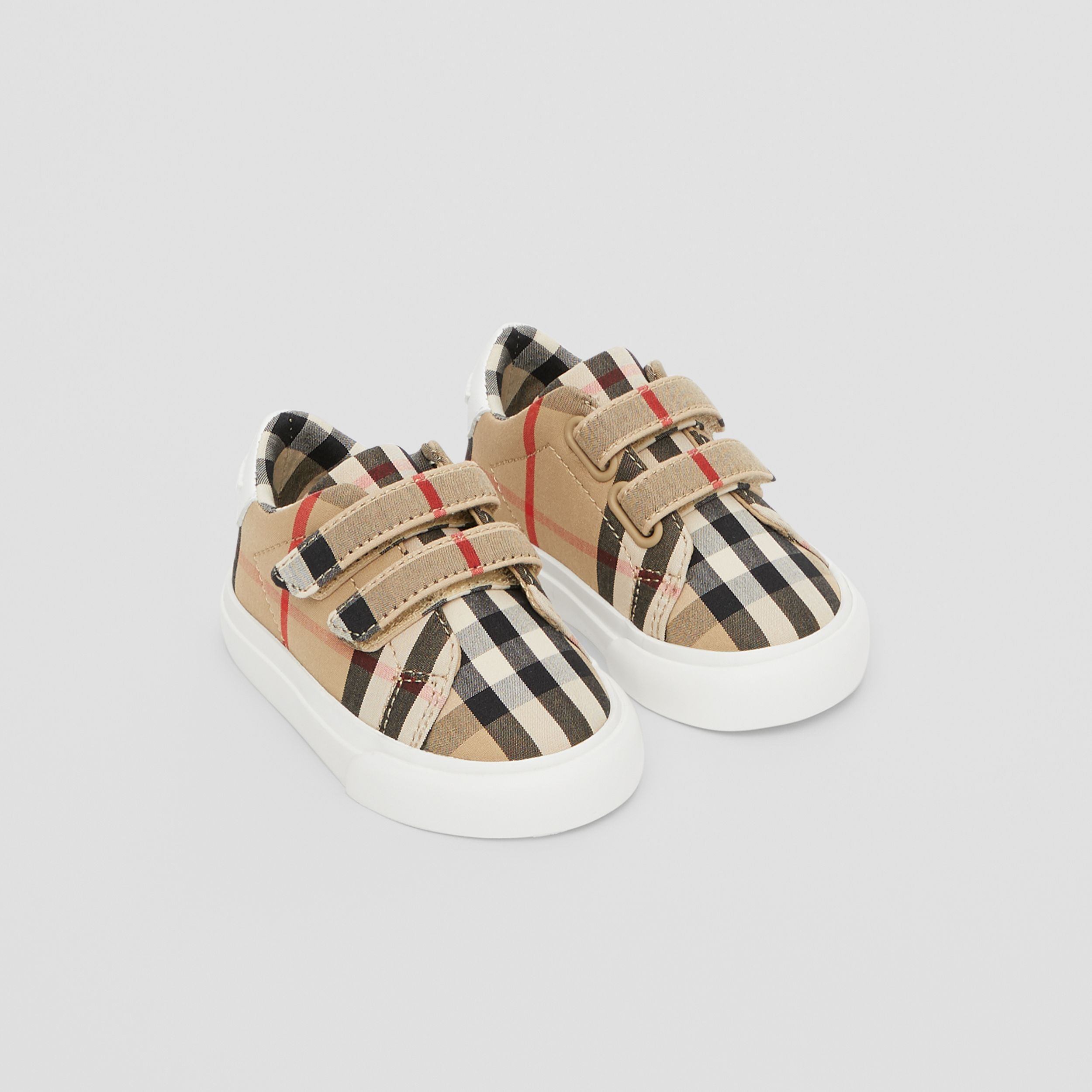 Vintage Check Cotton Sneakers in Archive Beige - Children | Burberry - 1